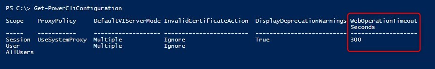 Time out client Powershell 300 sec